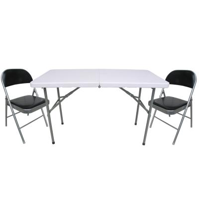 【免工具】4尺寬-二段式可調整高低-對疊折疊桌椅組/電腦桌椅組/餐桌椅組(1桌2椅)