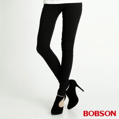 BOBSON 女款高彈力緹織布緊身褲(黑88)