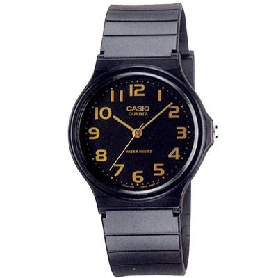 CASIO 超輕薄感指針錶(MQ-24-1B2)-黑x金色數字