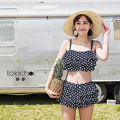 東京著衣 俏皮可愛點點層次兩件式泳裝-S.M(共二色)