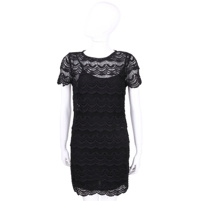 Michael Kors 黑色縷空波浪織花蕾絲短袖洋裝