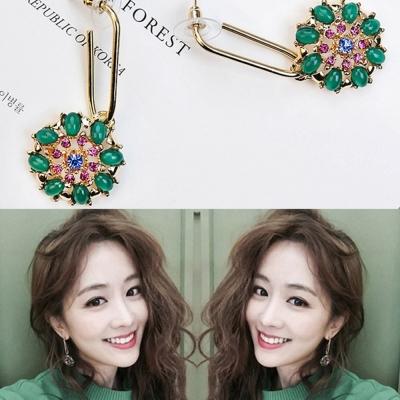 梨花HaN  韓國寶石璀綠花卉燦爛綴飾耳環