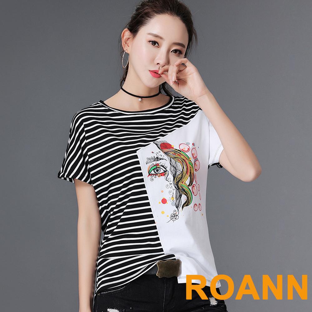 圓領彩色仕女撞色拼接T恤 (共三色)-ROANN