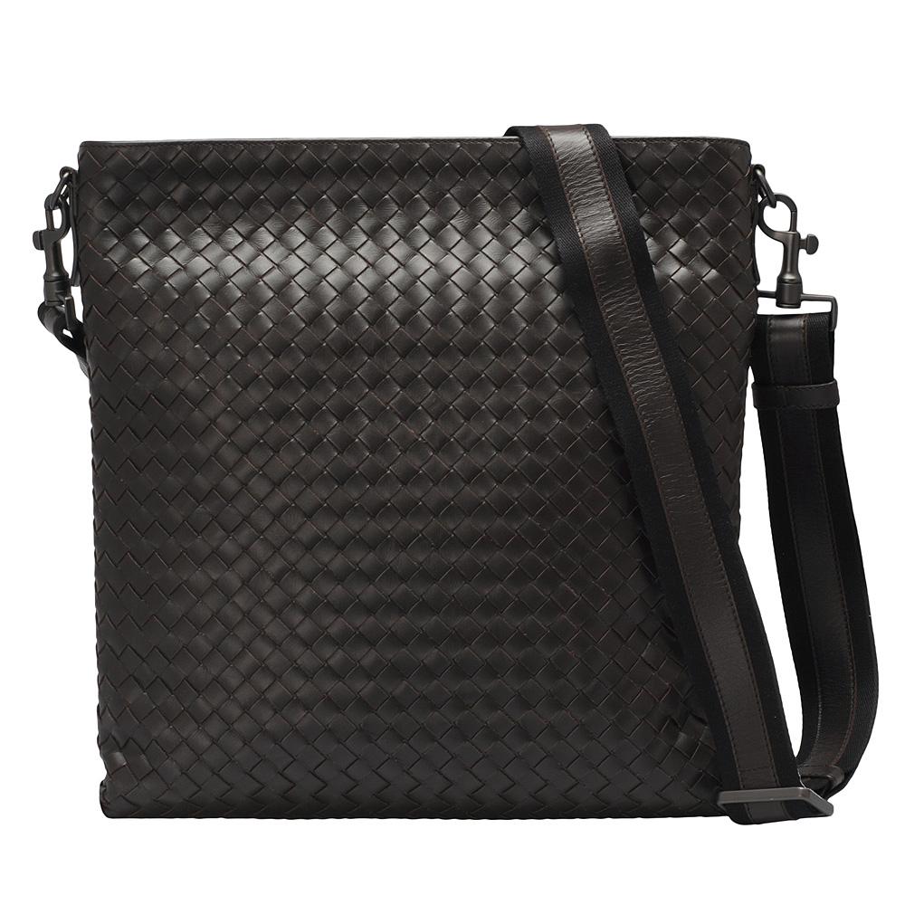 BOTTEGA VENETA 經典牛皮編織方型拉鍊斜背包(大-咖啡色)