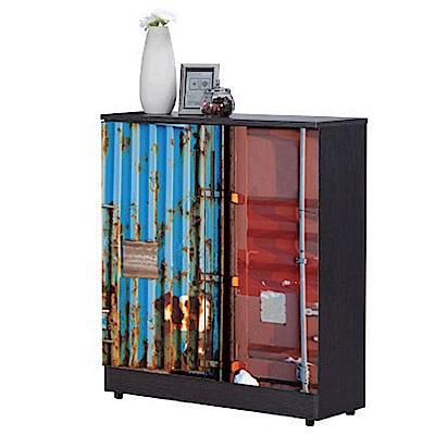 AT HOME-工業風設計2.7x3尺雙色貨櫃鞋櫃(80*32*93cm)