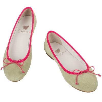 Bobbies 經典全皮芭蕾舞娃娃鞋-米/粉紅