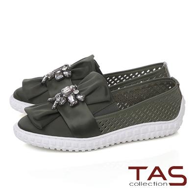 TAS 水鑽蝴蝶結牛皮打洞休閒鞋-深墨綠
