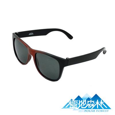【極地森林】兒童深灰色偏光鏡片運動太陽眼鏡(3818)黑紅框