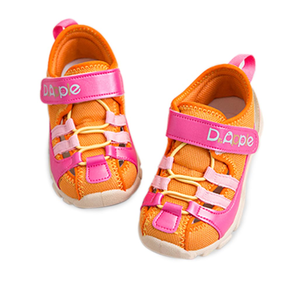 【Dr. Apple 機能童鞋】MIT潮流設計護趾透氣童鞋 粉橘