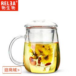 買一送一小蘑菇耐熱玻璃泡茶杯(附濾茶器)
