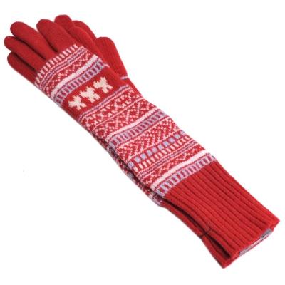 ANNA SUI 蝴蝶圖騰羊毛長版手套(紅)