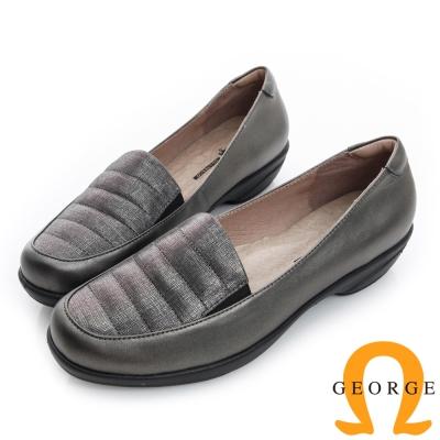 GEORGE 喬治-閃耀橫紋輕量彈力真皮低跟鞋-鐵灰色