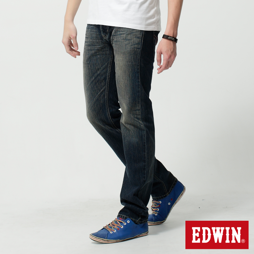 EDWIN 蛻變混搭 假袋蓋純棉合身AB牛仔褲-男-中古藍