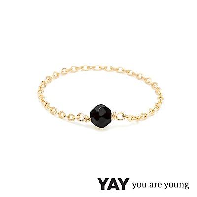 YAY You Are Young 法國品牌 Stella 黑曜石鍊戒 金色