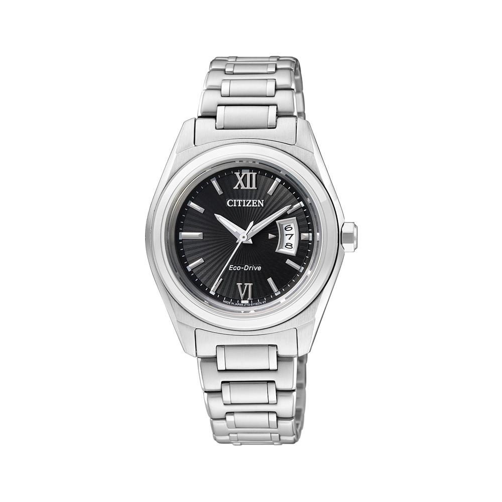 CITIZEN 錶環光動能典藏簡約三針時尚腕錶(FE1050-52E)-黑/31mm