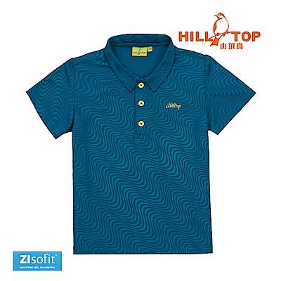 【hilltop山頂鳥】童款吸濕排汗抗UV壓花POLO衫S14C01-港藍