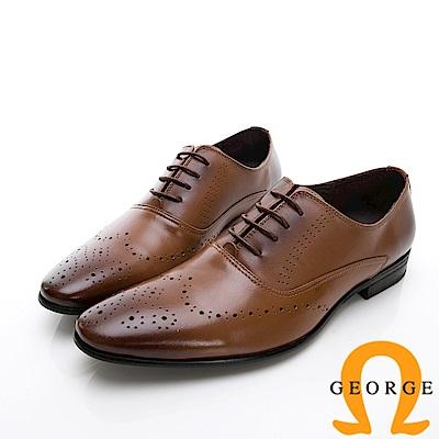 GEORGE 喬治-商務系列 雕花漸層紳士皮鞋-棕