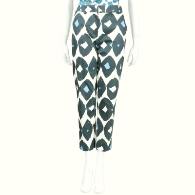 Max Mara 綠x白色彩繪圖印九分褲