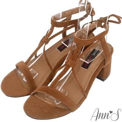 Ann'S重點層次感-T字縷空細絨綁帶粗跟涼鞋-棕