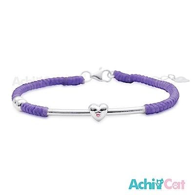 AchiCat 蠶絲蠟繩手鍊 925純銀 幸福心願(紫色)