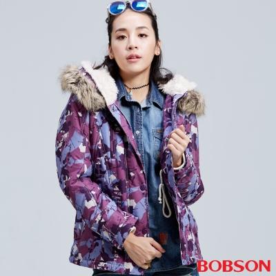 BOBSON 女款迷彩軍風外套(紫02)