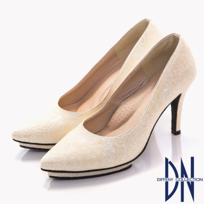 DN-幸福婚鞋-MIT-浪漫蕾絲尖頭高跟鞋-白