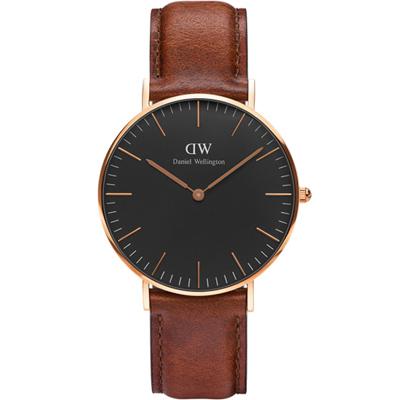 DW Daniel Wellington classic經典真皮手錶-黑X玫瑰金/36mm