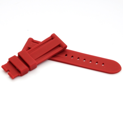PARNIS BOX 24mm 代用錶帶 防水 矽膠錶帶 柔軟 艷紅