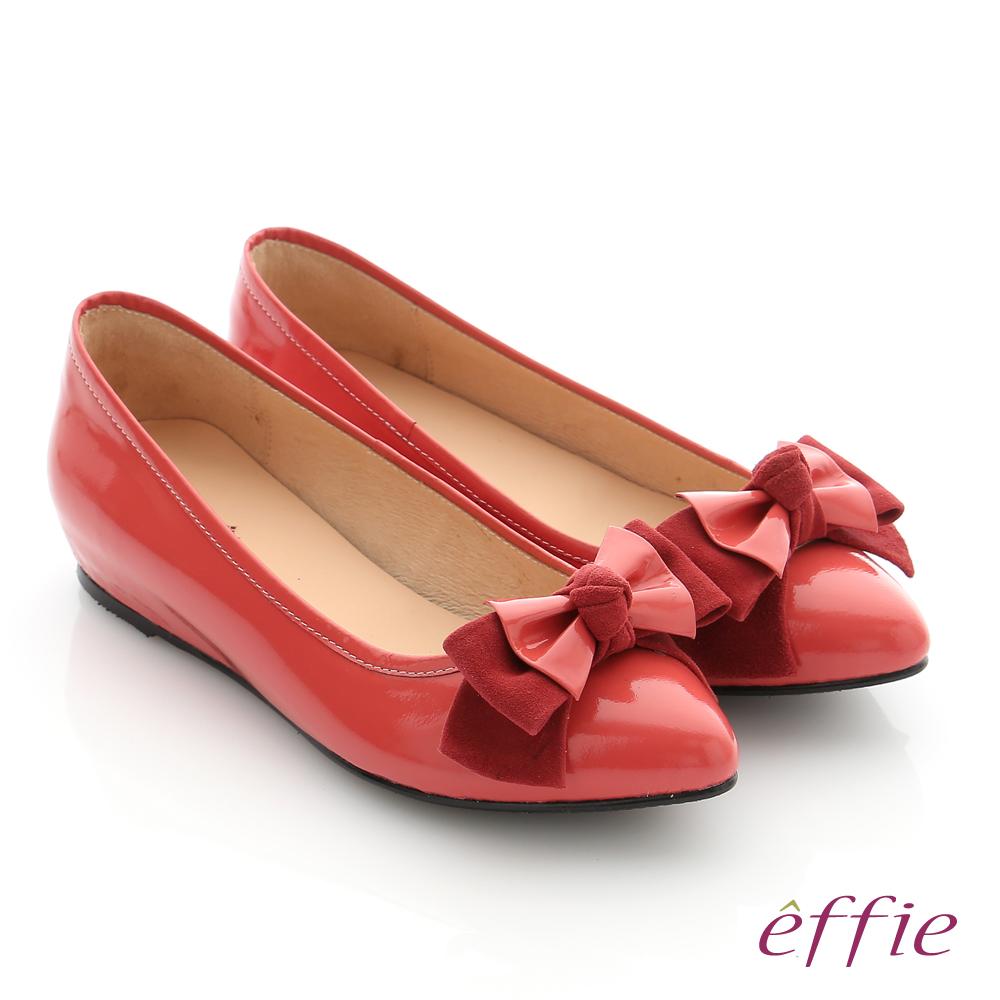 effie 個性美型 真皮蝴蝶結奈米平底鞋 洋紅色