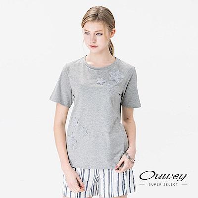 OUWEY歐薇 俏皮植絨星繡棉質上衣(白/灰)