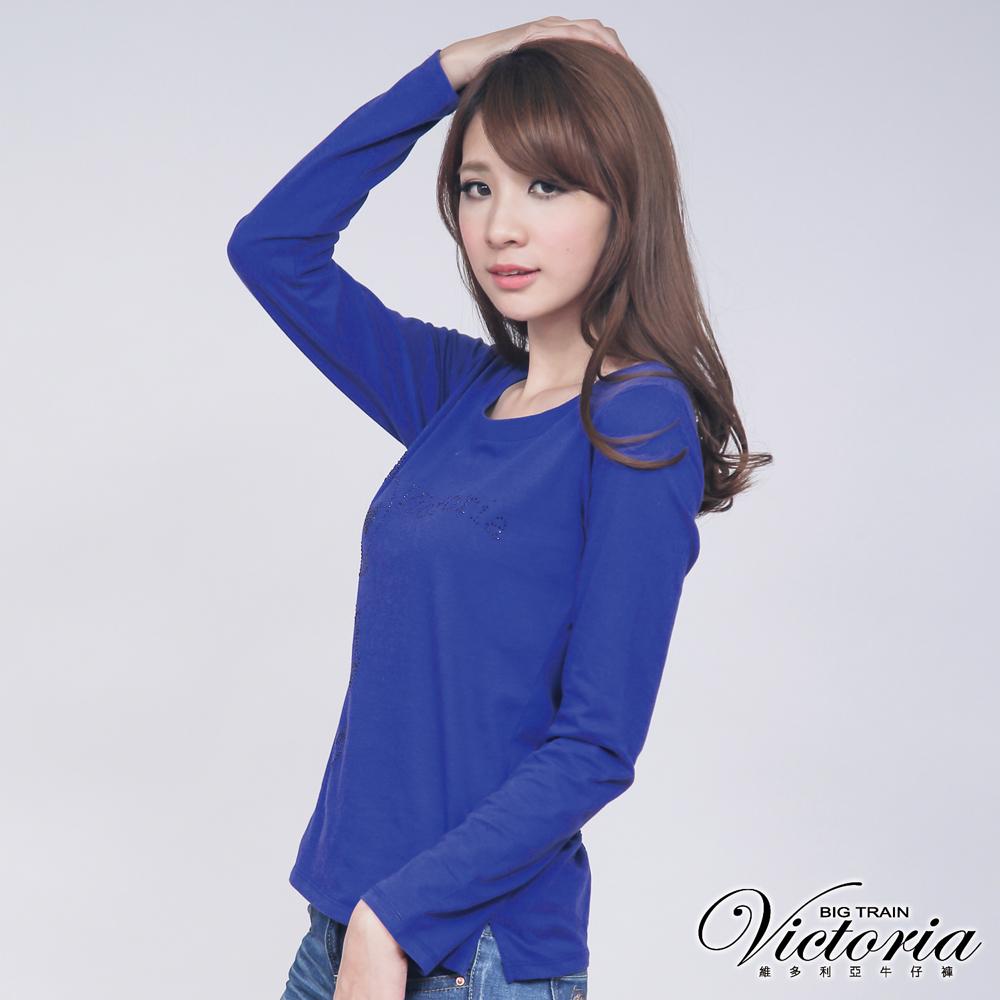 Victoria 貼鑽骷髏長袖T-女-寶藍