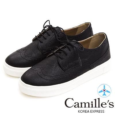 Camille's 韓國空運-正韓製-牛津雕花綁帶休閒鞋-黑色