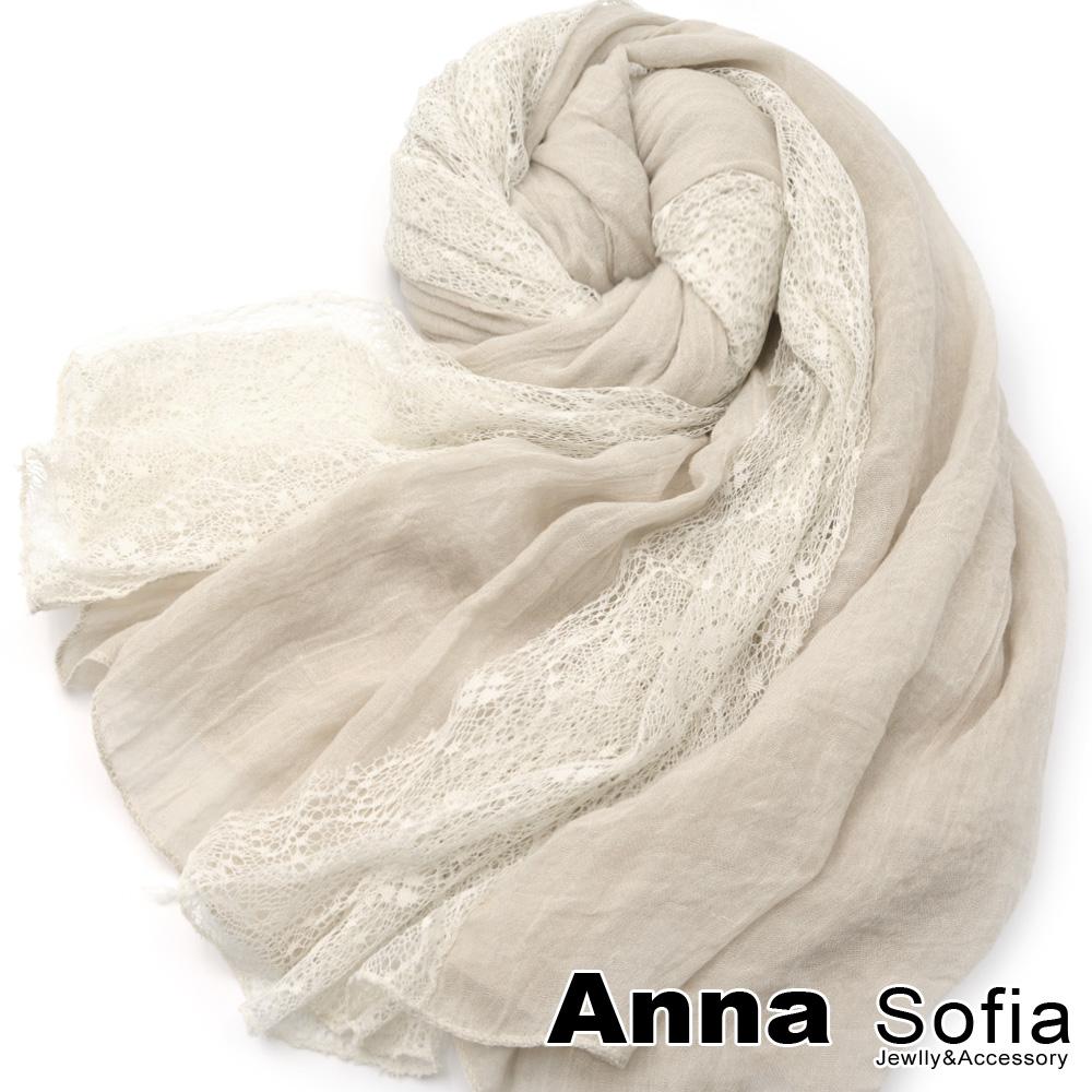 【滿688打75折】AnnaSofia 蕾絲拼接 柔軟混棉披肩圍巾(茶杏系)