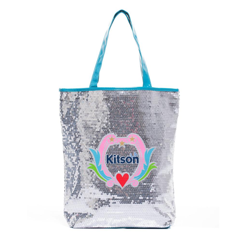 kitson 愛心花LOGO亮片側背托特包 (長型)SILVER/BLUE