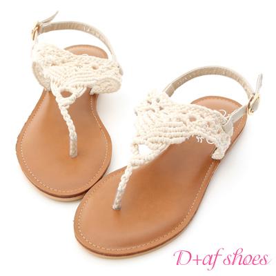 D+AF 純真步調.蕾絲鏤空針織夾腳涼鞋*米