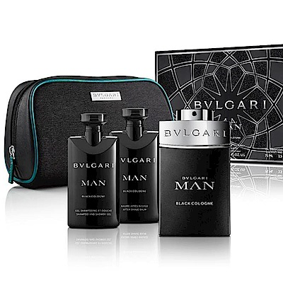 BVLGARI寶格麗 當代冰海香氛禮盒(淡香水+沐浴膠+鬍後乳)內贈收納包