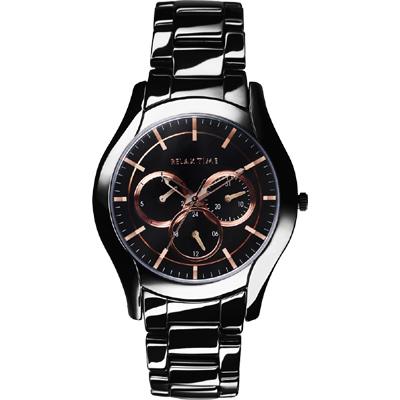 Relax Time 嶄新系列日曆女錶-黑x玫塊金/37mm