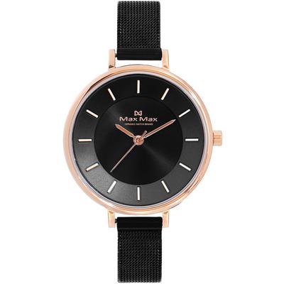Max Max 精煉醇粹時尚米蘭帶錶-玫瑰金框x黑/32mm