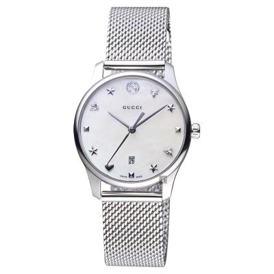 GUCCI古馳 G~Timeless 超薄米蘭帶女錶~珍珠貝x29mm