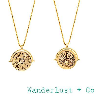 Wanderlust+Co 澳洲品牌 古典銀河星球項鍊 金色雙面項鍊 ORBIT