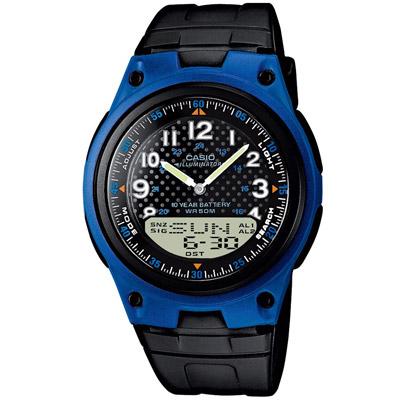 CASIO 城市都會時尚雙顯腕錶(AW-80-2B)-藍框/40mm
