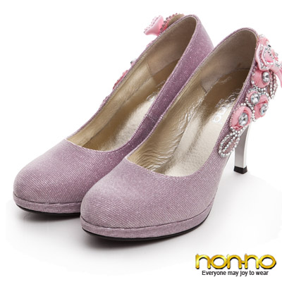 nonno-時尚派對鑲鑽高跟鞋-粉