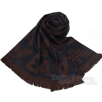 Emporio Armani 雙面老鷹LOGO針織羊毛圍巾-咖啡