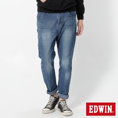 EDWIN 迦績褲JERSEYS X E.F紅袋花窄管牛仔褲-男-石洗藍