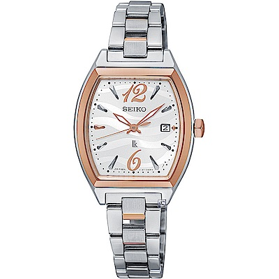 SEIKO精工LUKIA波光時尚太陽能腕錶(V137-0CE0C)-26x25mm/銀