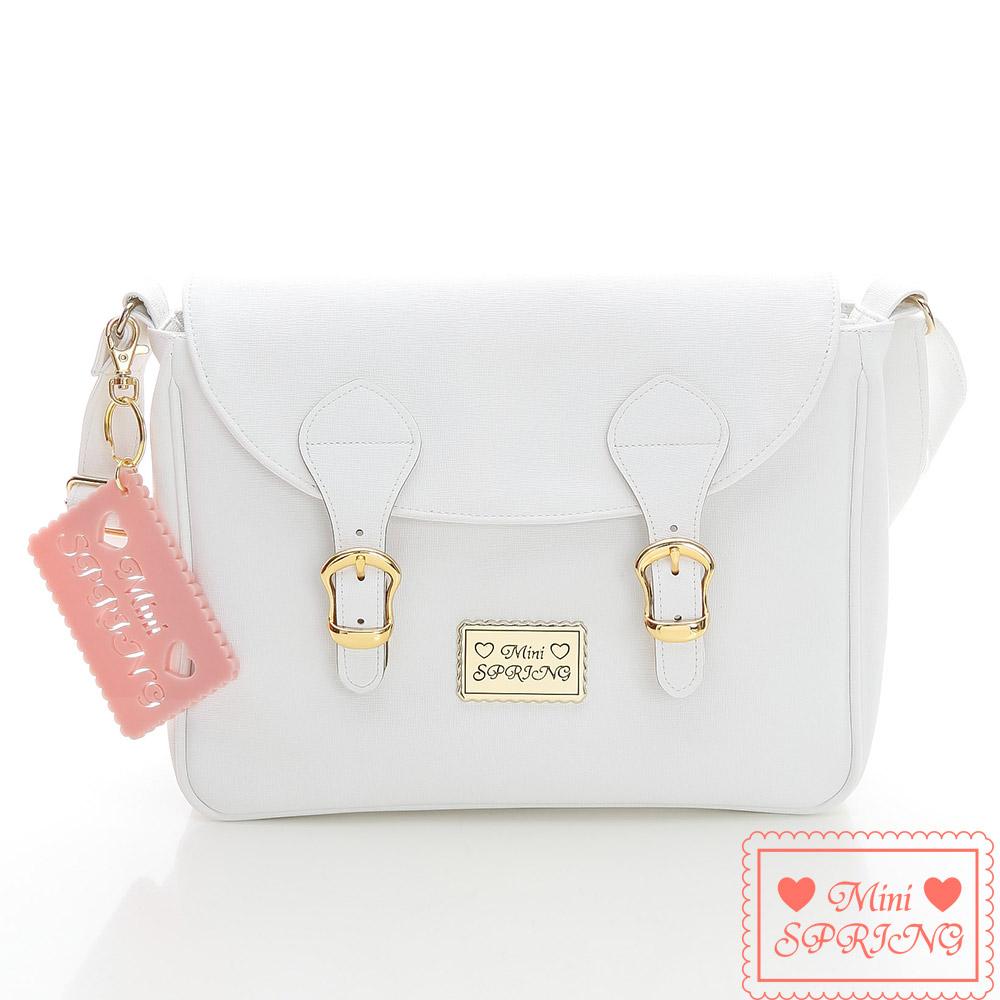 MINI SPRING - 經典法式餅乾~雙扣側背包-白色戀人巧克力