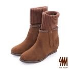 SM-台灣全真皮-3WAYS流蘇麂皮襪套中低楔型短靴-咖啡