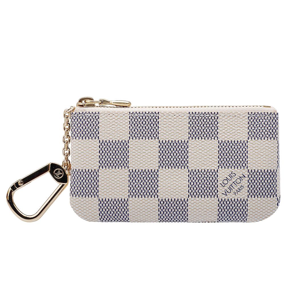 LV N62659 時尚優雅白色棋盤格圖紋鍊鑰匙/零錢包
