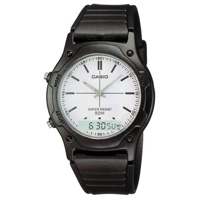 CASIO 超時玩家雙顯指針錶(AW-49H-7E)-白