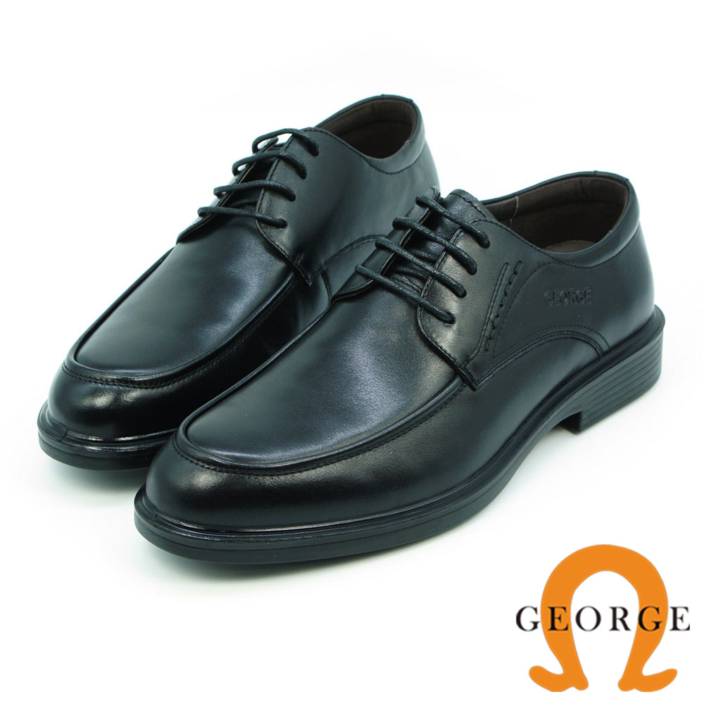 GEORGE 喬治-氣墊系列-牛皮圓頭立體寬楦紳士鞋-黑色